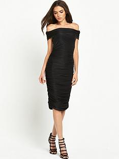 ax-paris-ruched-bardot-midi-dress-black