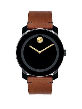 movado-movado-bold-black-dial-tan-leather-strap-mens-watch