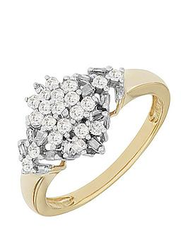 love-diamond-9ctnbspyellow-gold-50-point-diamond-marquis-cluster-ring