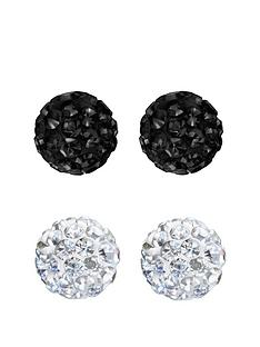 the-love-silver-collection-love-silver-sterling-silver-8mm-white-and-jet-black-crystal-ball-earrings