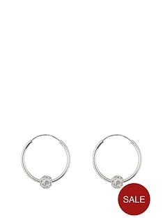 7b63e4992 The Love Silver Collection Sterling Silver Lightweight 16mm Hoops with  Crystal Glitter Ball