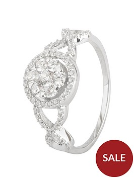 the-love-silver-collection-sterling-silver-cubic-zirconianbspcluster-ornate-ring