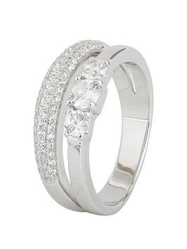 Love Silver Sterling Silver Cubic Zirconia Split Band Trilogy Ring