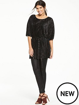 v-by-very-metallicnbsppleated-tunic-with-belt