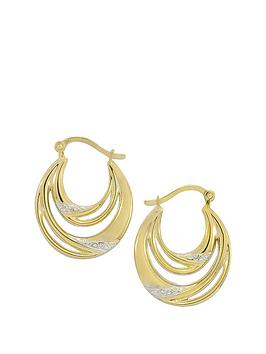 Love Gold 9Ct Gold Double Hoop Earrings With White Rhodium Highlights