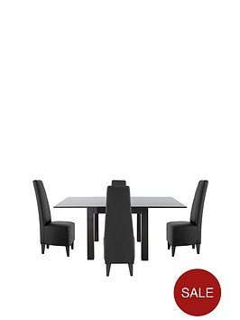 gloss-square-to-rectangle-80-160cm-extending-dining-table-4-manhattan-chairs
