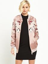 Embroidered Bomber Jacket - Blush Pink