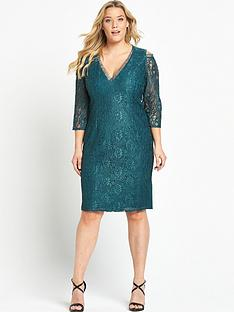 little-mistress-curve-cold-shoulder-lace-midi-dress-teal