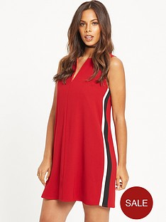 rochelle-humes-sport-side-stripe-shift-dress-red
