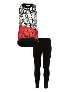 river-island-girls-black-print-trapeze-top-and-leggings-set