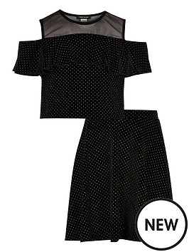 river-island-girls-black-stud-mesh-crop-top-and-skirt