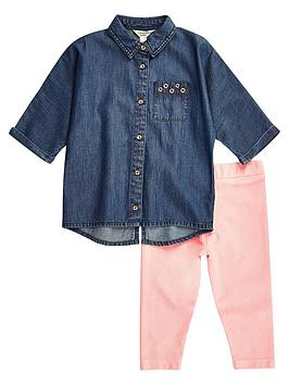 river-island-mini-girls-denim-shirt-and-pink-leggings-set