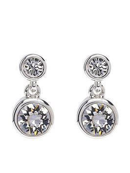 Karen Millen Karen Millen Silver Crystal Dot Drop Earring Made With Swarovski Elements