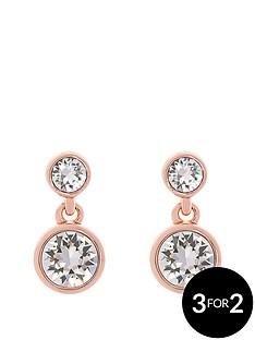 karen-millen-karen-millen-rose-gold-crystal-dot-drop-earring-made-with-swarovski-elements