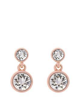 Karen Millen Karen Millen Rose Gold Crystal Dot Drop Earring Made With Swarovski Elements