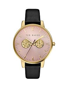 ted-baker-ted-baker-pink-multi-function-dial-black-leather-strap-ladies-watch