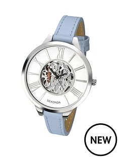 sekonda-skeleton-dial-blue-leather-strap-ladies-watch
