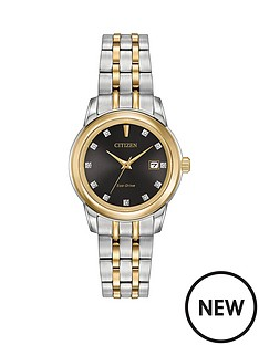 citizen-citizen-eco-drive-silhouette-diamond-black-dial-stainless-steel-two-tone-ladies-watch