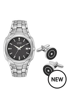 citizen-citizen-eco-drive-black-dial-stainless-steel-watch-amp-cufflink-gift-set