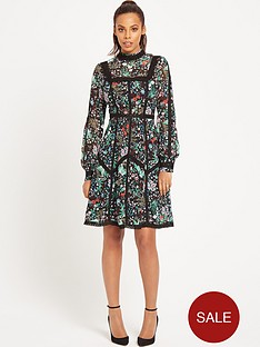 rochelle-humes-floral-and-lace-panel-tea-dress
