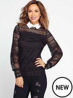 myleene-klass-lace-blouse-black