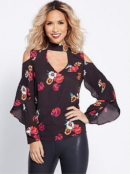 myleene-klass-pleated-sleeve-ruffle-blouse