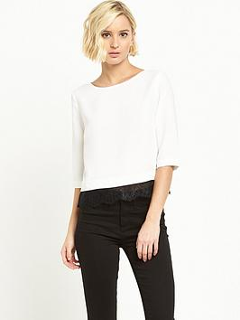 river-island-short-sleeve-satin-lace-hem-top-cream