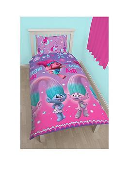 Dreamworks Trolls Trolls Glow Rotary Reversible Single Duvet Cover And Pillowcase Set
