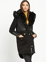 River Island Black Parka With Faux Fur Trim