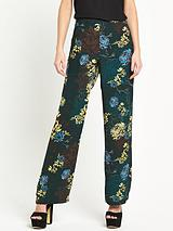 River Island Blue Floral Wide Leg Trouser