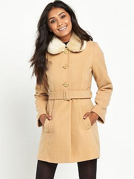 miss-selfridge-petite-camel-faux-fur-collar-coat