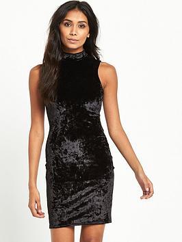 miss-selfridge-petite-velvet-high-neck-bodycon-dress-black
