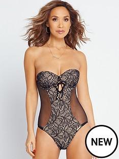 myleene-klass-underwired-lace-and-mesh-swimsuit-blacknude