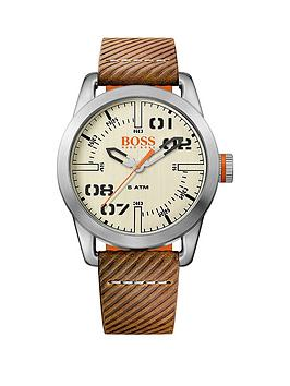 Hugo Boss Hugo Boss Oslo Casual Cream Dial Brown Strap Mens Watch