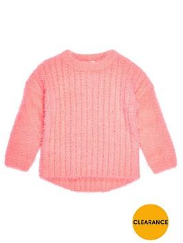 river-island-mini-girls-bright-coral-fluffy-knit-jumper