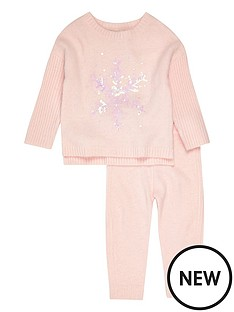 river-island-mini-mini-girls-pink-snowflake-jumper-set