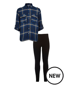 river-island-girls-blue-check-shirt-leggings-set