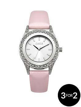 oasis-stone-set-bezel-pink-pu-strap-ladies-watch