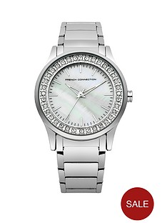 french-connection-french-connection-mother-of-pearl-dial-stone-set-bezel-silver-tone-bracelet-ladies-watch
