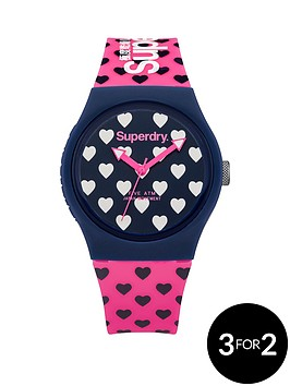 superdry-superdry-urban-heart-navy-heart-printed-dial-pink-heart-printed-silicone-strap-ladies-watch