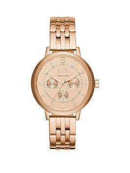Armani Exchange Rose Tone Multi Dial Stainless Steel Bracelet Ladies Watch