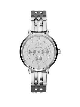 Armani Exchange Silver Tone Multi Dial Stainless Steel Bracelet Ladies Watch