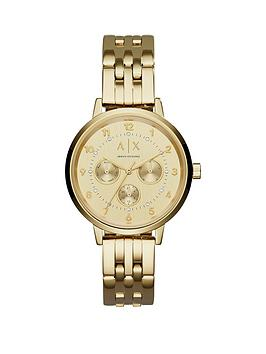 Armani Exchange Gold Tone Multi Dial Stainless Steel Bracelet Ladies Watch