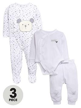 Ladybird Baby Unisex 3Pc Baby Bear Bodysuit Sleepsuit And Jogger Set