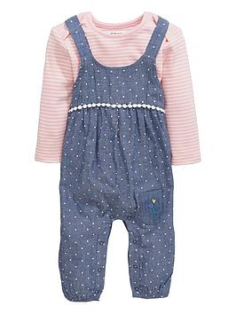 Ladybird Baby Girls Floral Dungarees And Stripe Bodysuit Set