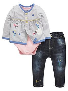 Ladybird Baby Girls Chick Cardigan Bodysuit And Jeans Set