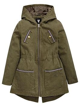 V By Very Girls Aztec Trim Detail Parka
