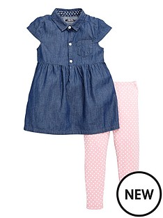 mini-v-by-very-girls-chambray-button-through-dress-and-leggings-set