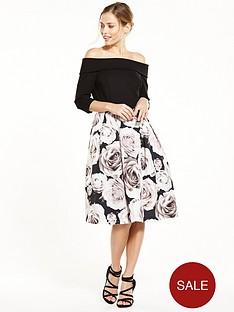 v-by-very-premium-bardot-prom-printed-midi-dress