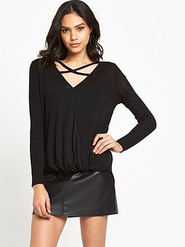 river-island-strappy-wrap-front-jumper-black